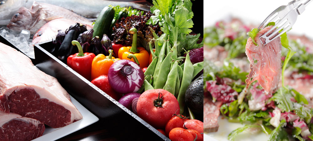 We serve salads prepared with more than ten kinds of seasonal vegetables from first thing in the morning