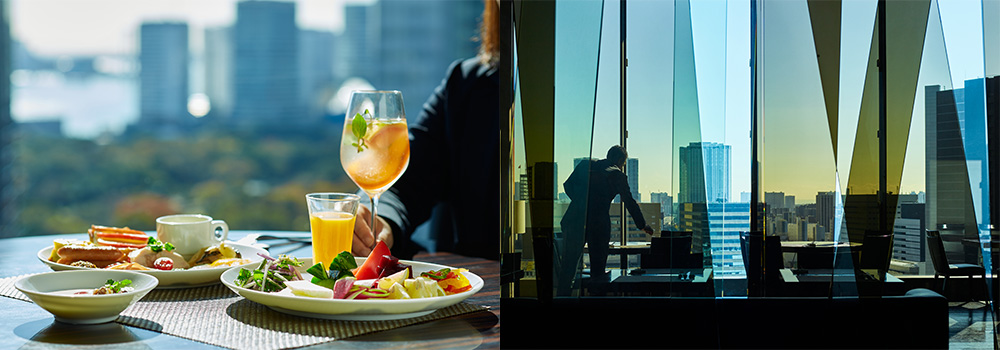 Have a relaxed morning while looking out over views of Ginza.