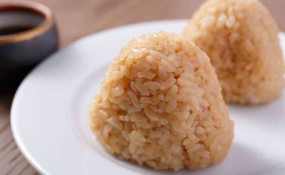 The special soy sauce glaze is irresistable! Specialty onigiri (rice balls).